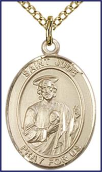 "Solid 18kt Gold Medal, 3/4""x9/16"", St. Jude Thaddeus, Free Chain, # 55372"