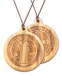 "2-3/4"" x 3"" Engraved Wood St. Benedict Medallion, 28"" Cord,# 55435"