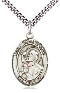 "St. Rene Goupil Medal in Fine Pewter, 1"" tall, Your Choice of Chain, # 5558"