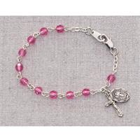"5.5"" Baby Bracelet, Rhodium Plated, Pink Crystal, # 55718"