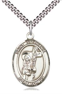 "St. Stephanie Medal in Fine Pewter, 1"" tall, Your Choice of Chain, # 5585"
