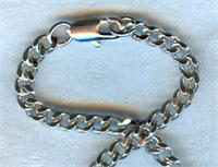 "18"" Curb Chain w/ Clasp, Heavy Rhodium Plated, 3.65mm Wide, # 56817"