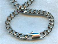 "20"" Curb Chain w/ Clasp, Heavy Rhodium Plated, 3.65mm Wide, # 56820"