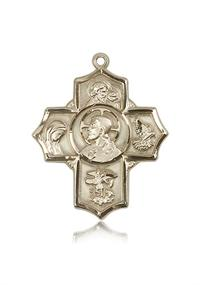 "Sacred Heart Five - Way Medal 1-3/16"" Solid 14kt Gold, Free Chain, # 43457"