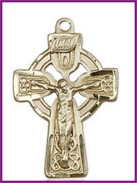 "1"" Celtic Crucifix in Solid 18kt Gold, Free Chain, # 45687"