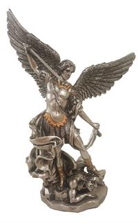 "8"" St. Michael Statue, Pewter Finish Resin with Gold Highlights #59"