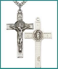 "1-3/4"" St. Benedict Crucifix, Sterling Silver,Your choice of Chain, # 590"