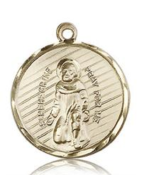 "St. Peregrine Round Medal, Solid 14kt Gold, 15/16"", Free Chain, # 60657"