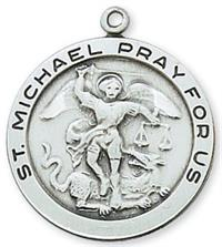 "1"" Round St. Michael Medal in Sterling, 24"" chain, # 6086"