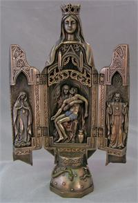 "11"" Our Lady of Sorrows Opening Triptych, Cold Cast Bronze, # 61767"