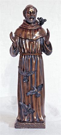 "11"" St. Francis of Assisi Statue, Cold Cast Bronze, Lightly Hand Painted, # 61800"