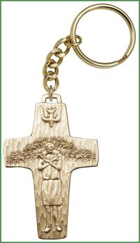 "Keychain, Bronze Oxide, Pope Francis, 2-1/2"", # 63621"