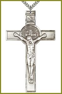 "3"" St. Benedict Crucifix in Sterling Silver, Your Choice of Chain, # 63726"