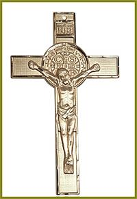 "3"" St. Benedict Crucifix in Solid 18kt Gold, Free Chain, # 45679"