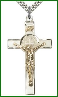 "1-3/4"" Gold Filled over Sterling Silver St. Benedict Crucifix, Your choice of chain, # 63983"