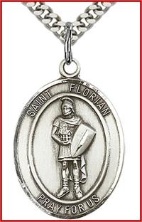 "St. Florian Medal, Sterling Silver, 1""x3/4"", Your choice of chain, # 64010"