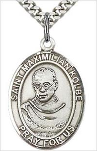 "1""x3/4"" Sterling Silver St. Maximilian Medal, Your Choice of Chain, # 64016"