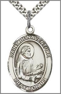 "St. Bonaventure Medal, Sterling Silver, 1""x3/4"", your choice of chain, # 64019"