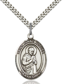 "1""x3/4"" Sterling Silver St. Isaac Jogues Medal, Your Choice of Chain, # 64032"
