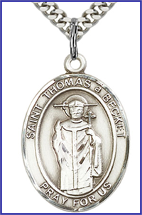 "Sterling Silver Medal, 1""x3/4"", St. Thomas a Becket, Your Choice of Chain, # 64057"