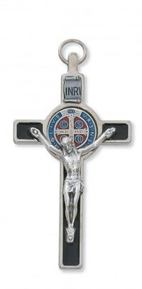 "3-1/4"" St. Benedict Crucifix, Black Enamel on Silver Tone w/ Color, 24"" Cord, # 64215"