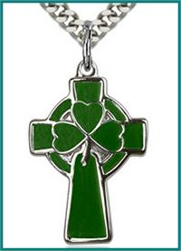 "1"" Celtic Cross, Sterling Silver, Green Enamel, Your Choice of Chain, # 64257"