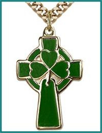 "1"" Celtic Cross, Solid 18kt Gold, Green Enamel, Free Chain, # 48221"