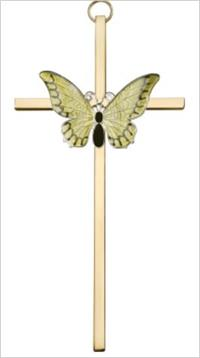 "6"" Resurrection Yellow Butterfly Cross, Silver-Tone on Polished Brass Cross, # 64270"