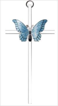 "6"" Resurrection Blue Butterfly Cross, Gold-Tone on Nickel Plated Cross, # 64271"