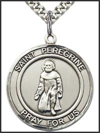 "Saint Peregrine Sterling Silver Medal, 1"" round, Your Choice of Chain, # 64341"