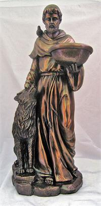 "20"" St. Francis with Wolf Statue, Cold Cast Bronze, Lightly Hand Painted, # 64534"