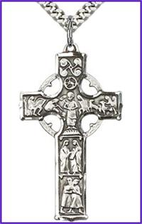 "1-1/2"" Celtic Cross, Sterling Silver, Your Choice of Chain, # 64965"