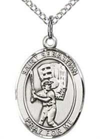 "3/4"" tall, Sterling Silver, St. Sebastian Baseball Medal, Your Choice of Chain, # 64990"