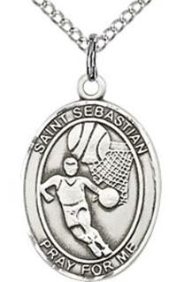 "1"" tall, Sterling Silver, St. Sebastian Basketball Medal, Your Choice of Chain, # 41109"