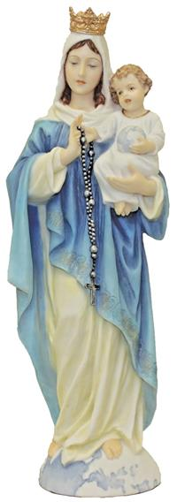 "10"" Our Lady of the Rosary Statue, Hand Painted Resin, # 65048"