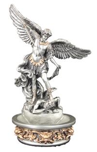 "8"" St. Michael Holy Water Font, Pewter Finish, Stands or Hangs, # 65065"