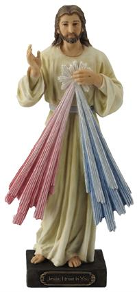 "8"" Divine Mercy Statue, Hand Painted Resin, # 65070"