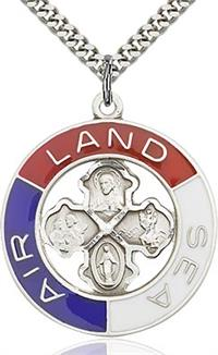 "Sterling Silver Land, Sea, Air Pendant, 1-3/16"" dia., Your choice of chain, # 65571"