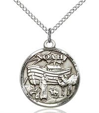 "3/4"" Noah Medal, Sterling Silver, Your Choice of Chain, # 65635"