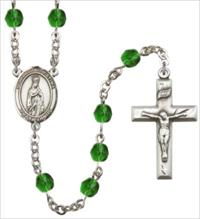 6mm Fire Polished Silver Plate Our Lady of Fatima Rosary, Emerald, # 66036