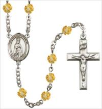 6mm Fire Polished Silver Plate Our Lady of Fatima Rosary, Topaz, # 66042