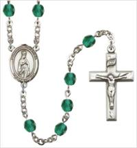 6mm Fire Polished Silver Plate Our Lady of Fatima Rosary, Zircon, # 66043