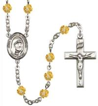 6mm Fire Polished Silver Plate St. Teresa of Calcutta Rosary, Topaz, # 66119
