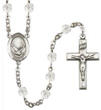 6mm Fire Polished Silver Plate Holy Spirit Rosary, Crystal, # 66131