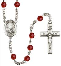 6mm Fire Polished Silver Plate Holy Spirit Rosary, July, # 66134