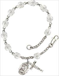 6mm Fire Polished Silver Plate Rosary Bracelet, Crystal, St. Gerard, # 66173