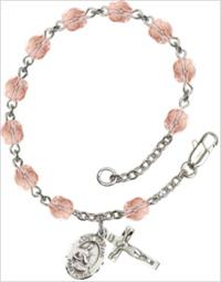 6mm Fire Polished Silver Plate Rosary Bracelet, Pink, St. Gerard, # 66179