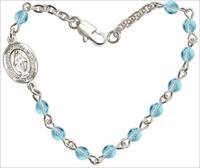 "4mm Fire Polished Rosary Bracelet, 6.25"", Miraculous Charm, Aqua, # 66183"
