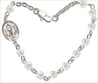 "4mm Fire Polished Rosary Bracelet, 6.25"", Chalice Charm, Crystal, # 66186"