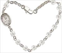 "4mm Fire Polished Rosary Bracelet, 7.25"", Scapular Charm, Crystal, # 66212"